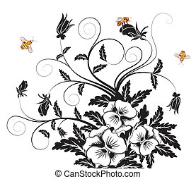Bouquet of pansies with bee, element for design, vector...