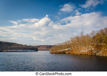 Winter view of Prettyboy Reservoir, in Baltimore County,...