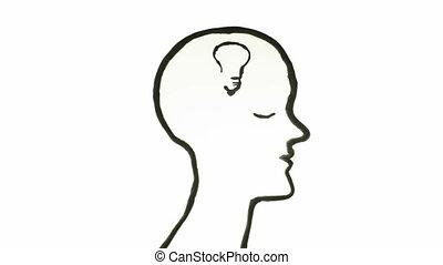 Brain Idea concept animation over white