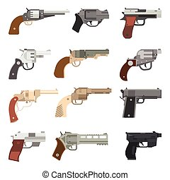 Weapons vector handguns collection.