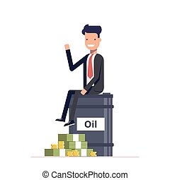 Businessman or manager sitting on a barrel of oil next to bunch money. Business the extraction natural resources. The rich man in suit. Vector, illustration EPS10.