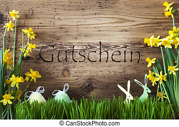 Easter Decoration, Gras, Gutschein Means Voucher - Wooden...