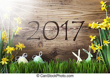 Sunny Easter Decoration, Gras, Text 2017 - Wooden Background...