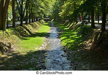Rivulet and Trees - Small river surrounded with lush park...