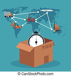 cardboard box clock connection global delivery concept