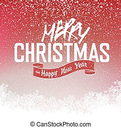 Merry Christmas Red background with snowflakes and place for text. Vector Illustration.