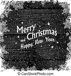 Merry Christmas Greetings. Wooden black christmas background with snowflakes. Frozen ornament isolated frame. Holiday Postcard template