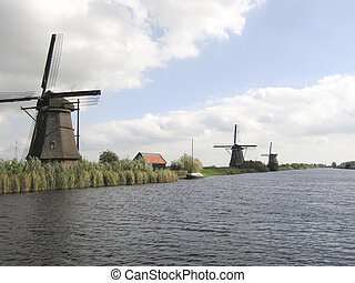 Windmills at Kinderdijk - Different windmills at famous...