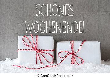 Two Gifts With Snow, Schoenes Wochenende Means Happy Weekend...