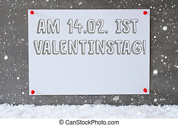 Label On Cement Wall, Snowflakes, Valentinstag Means...