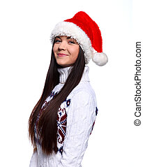 Christmass girl - Smiling young woman in red christmass hat...
