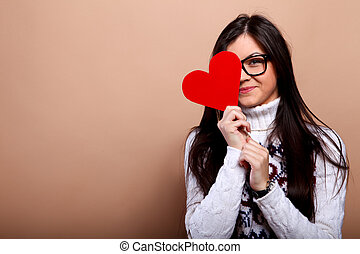 Girl with red heart - Girl in nerd glasses with red heart