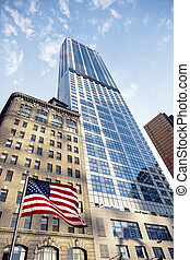 Construction of 1WTC and the American Flag - Low angle view...