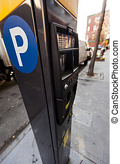 Parking Meter - Wide angle view of a parking meter in a...