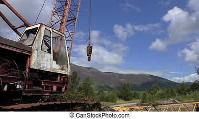 Old rusty abandoned crane truck - Old rusty abandoned...