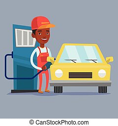 Worker filling up fuel into car. - An african-american gas...