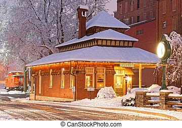 Snowfall at the Old Railroad Station