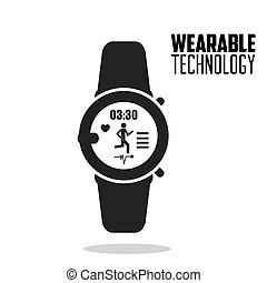 smart watch fitness health wearable technology vector...
