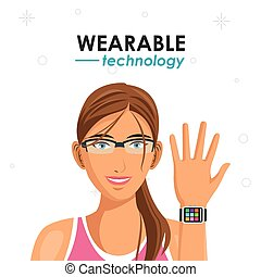 fitness woman watch wearable technology vector illustration...