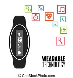 smart watch wearable technology heart healthy vector...