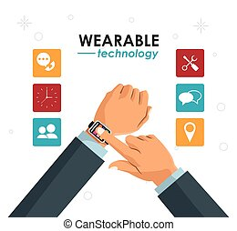hands businessman wearable technology