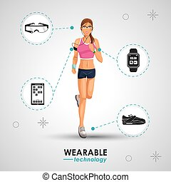 woman sport jogging wearable technology vector illustration...