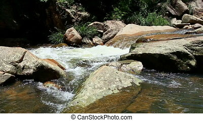 Mountain River Runs Fast among Stones - mountain river with...
