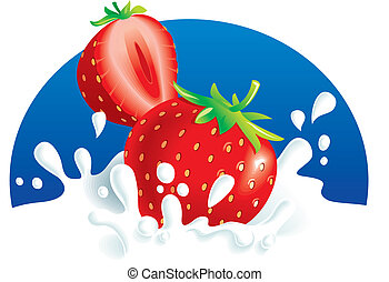 Strawberries splashing in milk - Two strawberries falling in...