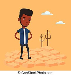 Sad man in the desert vector illustration.