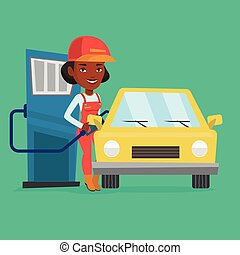 Worker filling up fuel into car. - African-american gas...
