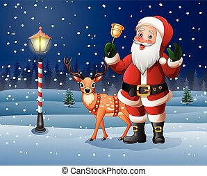 Christmas background with Cartoon Santa Claus ringing bell