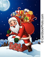 Christmas background with Santa Claus enters a home through the Chimney