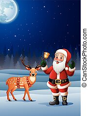Christmas background with Santa Claus cartoon ringing bell -...