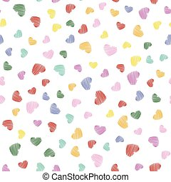 Hand drawn heart shapes in seamless colorful pattern