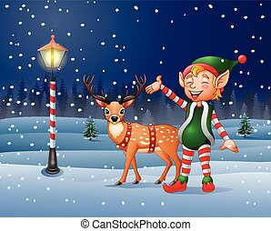 Christmas background with an elf and reindeer - Vector...