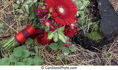 wedding flowers bouquet at fall season tree stump.