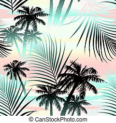 Tropical summer palms seamless pattern .