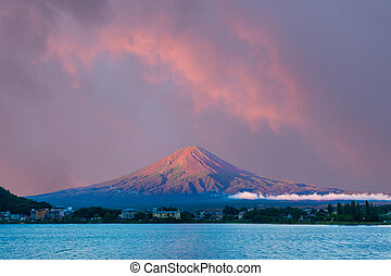 Mt Fuji Morning Sunrise Sky Kawaguchi Lake Hotels - Colorful...