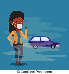 Air pollution from vehicle exhaust. - Woman standing on the...