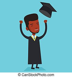 Graduate throwing up his hat vector illustration.