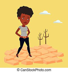 Sad woman in the desert vector illustration.