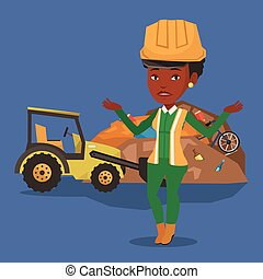 Worker and bulldozer at rubbish dump. - Worker of rubbish...