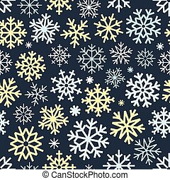 Different vector snowflakes seamless patter. Vector ice...