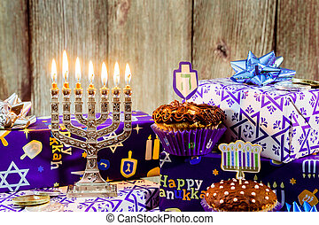 Jewish holiday hanukkah celebration tallit vintage menorah -...