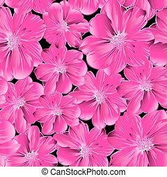 Pink flowers in a seamless pattern
