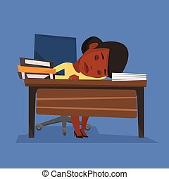 Female student sleeping at the desk with book. - An...