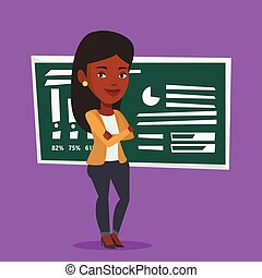 Teacher or student standing in front of chalkboard