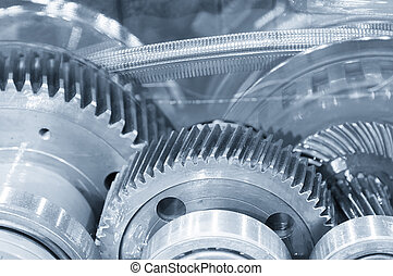 Abstract scene of the steel belt and pinion gear in the...