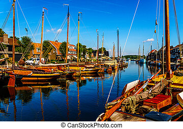 Traditional Dutch Botter Fishing Boats in the Harbor of...