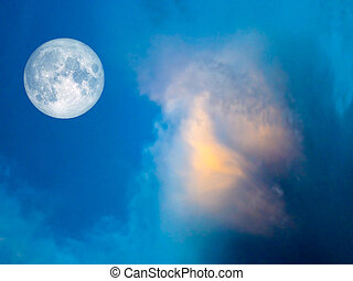 full moon Gold cloud in the blue sky